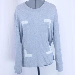 H&M Men's Large Gray Geometric Square LS Shirt